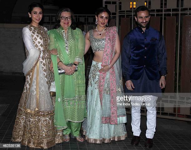 Karishma Kapoor and Saif Ali Khan with his wife Kareena Kapoor at Soha Ali Khan and Kunal Khemus wedding reception in Mumbai.