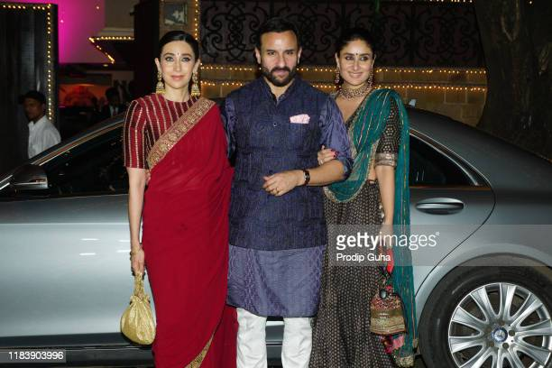 Karishma Kapoor, Saif Ali Khan and Kareena Kapoor Khan attend the Diwali Bash hosted by Actress Sonam Kapoor on October 27, 2019 in Mumbai, India.