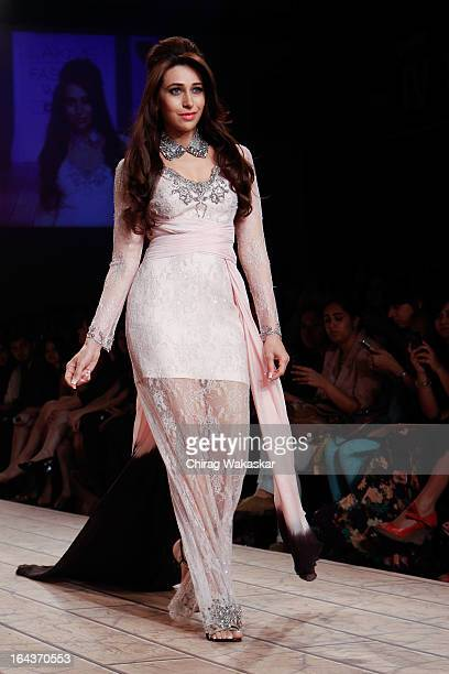 Karishma Kapoor showcases designs by Shehlaa on the runway during day two of the Lakme Fashion Week Summer/Resort 2013 on March 23 2013 at Grand...