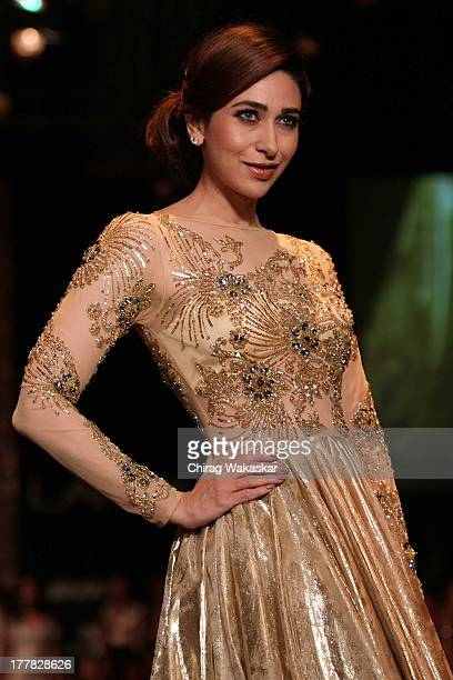 Karishma Kapoor showcases designs by Vikram Phadnis during day 3 of Lakme Fashion Week Winter/Festive 2013 at the Hotel Grand Hyatt on August 25 2013...