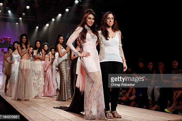 Karishma Kapoor walks the runway with deisgner Shehlaa during day two of the Lakme Fashion Week Summer/Resort 2013 on March 23 2013 at Grand Hyatt in...