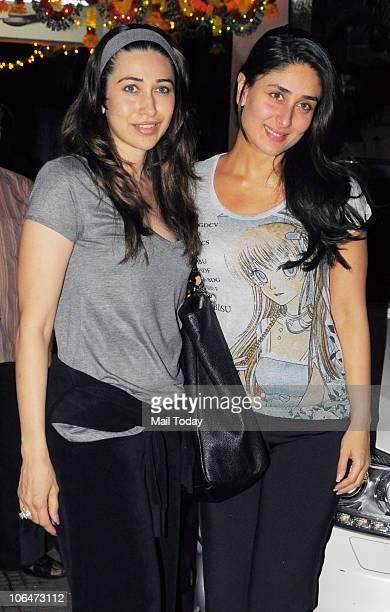 Karisma and Kareena Kapoor at a special screening of the film Golmaal 3 in Mumbai on November 2 2010