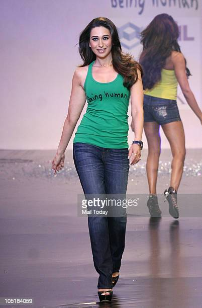Karisma Kapoor during the Being Human foundation show at day four of the HDIL Couture week in Mumbai on October 9 2010