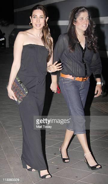 Karisma Kapoor with Shabina Khan at Maheep Kapoor's b'day bash at Juhu Mumbai on April 29 2011