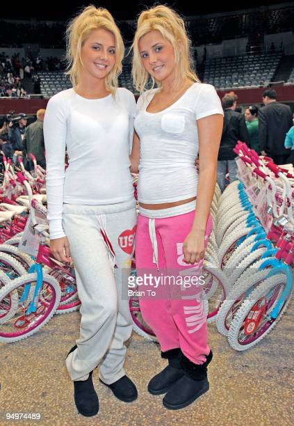 Karissa Shannon and Kristina Shannon Hugh Hefner's new twin girlfriends attend Christmas In The City Charity Toy Drive at LA Sports Arena on December...