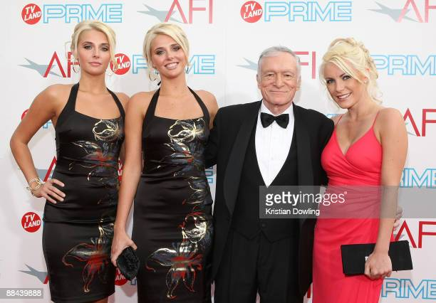 Karissa Shannon, Kristina Shannon, Hugh Hefner and Crystal Harris arrive at AFI Lifetime Achievement Award: A Tribute to Michael Douglas held at Sony...