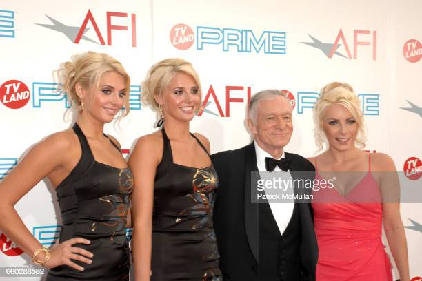Karissa Shannon, Kristina Shannon, Hugh Hefner and Crystal Harrison attend 37th Annual AFI Lifetime Achievement Awards at Sony Pictures Studios on...
