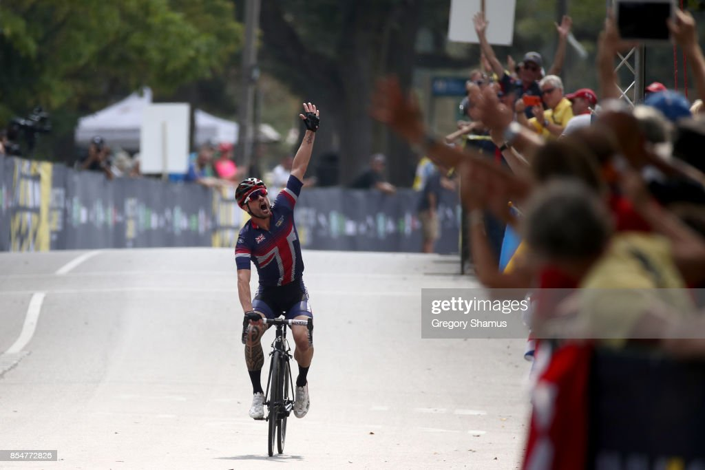 Karl Allen-Dobson of the United Kingdom celebrates winning gold after competing in the Men's Road Cycling IRB2 Criterium Final during the Invictus Games 2017 at High Park on September 27, 2017 in Toronto, Canada