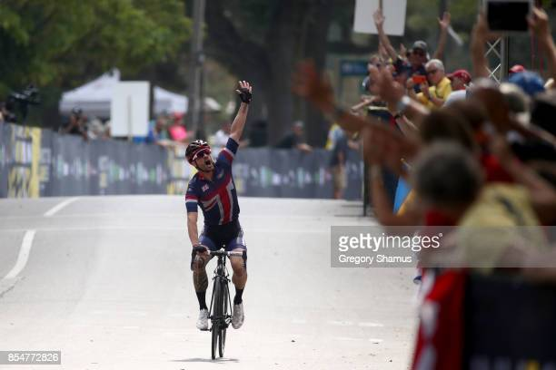 Karl AllenDobson of the United Kingdom celebrates winning gold after competing in the Men's Road Cycling IRB2 Criterium Final during the Invictus...