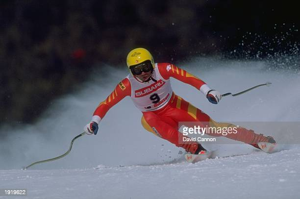 Karl Alpiger of Switzerland in action in a Downhill skiing event in Crans Montana Switzerland Mandatory Credit David Cannon/Allsport