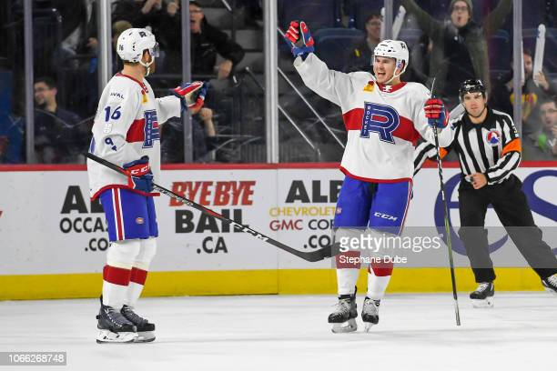 Karl Alzner of the Laval Rocket scores his first goal and Alexandre Alain of the Laval Rocket comes to congradulate him against the Belleville...