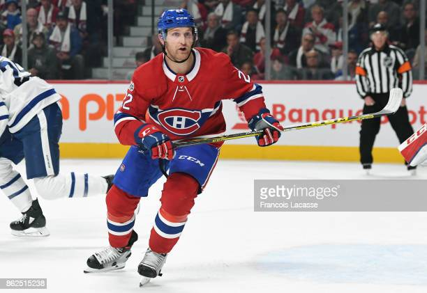 Karl Alzner of the Montreal Canadiens skates against the Toronto Maple Leafs in the NHL game at the Bell Centre on October 14 2017 in Montreal Quebec...