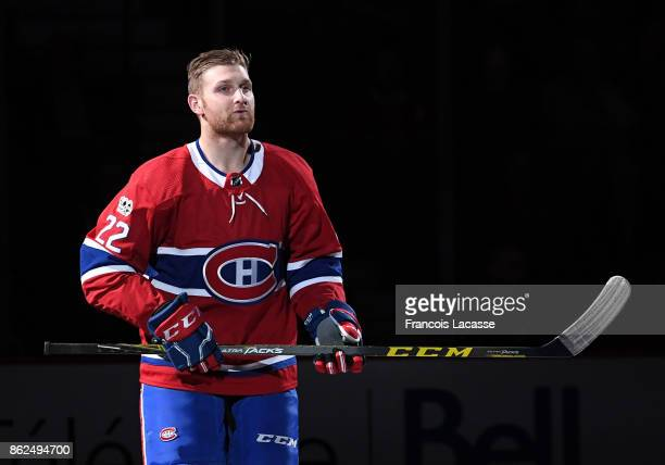 Karl Alzner of the Montreal Canadiens skates during the game presentation prior the NHL game against the Chicago Blackhawks at the Bell Centre on...