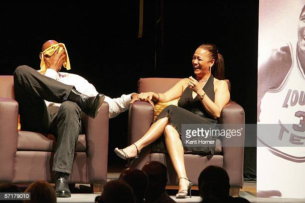 Karl and Kay Malone sit on stage during a Charity Roast for the retired NBA power forward March 24 2006 at the Depo Club in Salt Lake City Utah NOTE...