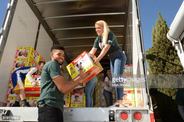 Karl Anthony Towns of the Minnesota Timberwolves participate with Baby2Baby during NBA Cares AllStar Day of Service as a part of 2018 NBA AllStar...