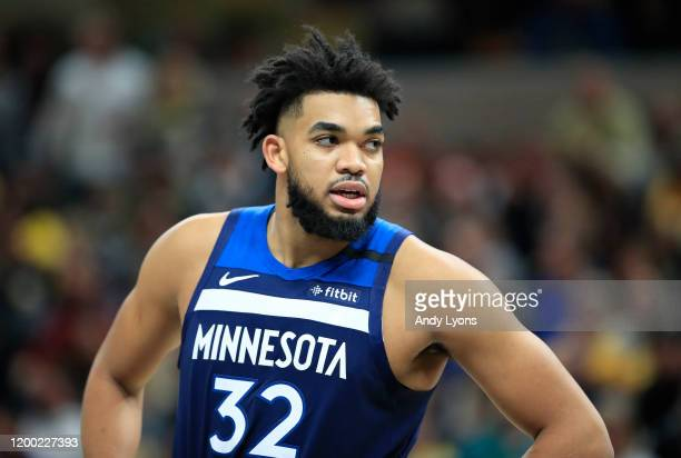 Karl Anthony-Towns of the Minnesota Timberwolves against the Indiana Pacers at Bankers Life Fieldhouse on January 17, 2020 in Indianapolis, Indiana....