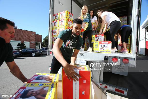 Karl AnthonyTowns of the Minnesota Timberwolves participate with Baby2Baby during NBA Cares AllStar Day of Service as a part of 2018 NBA AllStar...