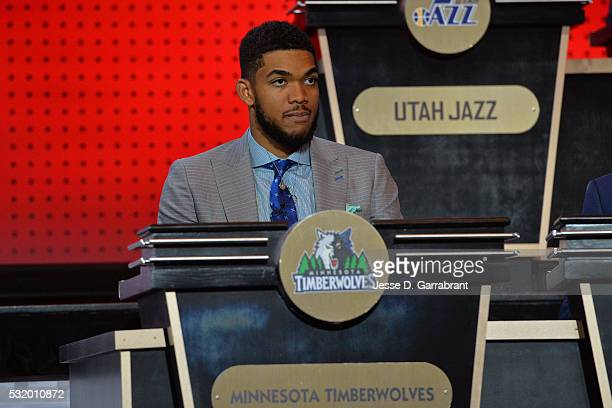 Karl AnthonyTowns of the Minnesota Timberwolves poses for a photo in his seat during the 2016 NBA Draft Lottery at the New York Hilton in New York...