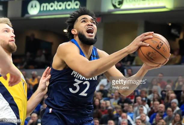 Karl Anthony-Towns of the Minnesota Timberwolves shoots the ball against the Indiana Pacers at Bankers Life Fieldhouse on January 17, 2020 in...