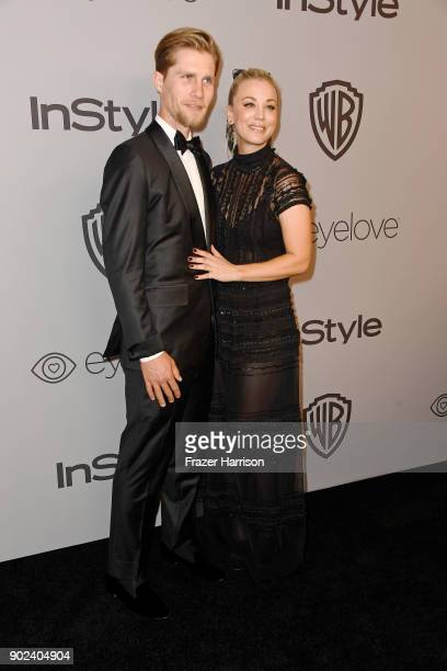 Karl Cook and actor Kaley Cuoco attend 19th Annual PostGolden Globes Party hosted by Warner Bros Pictures and InStyle at The Beverly Hilton Hotel on...