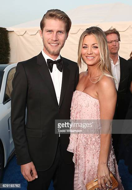 Karl Cook and actress Kaley Cuoco attend the 22nd annual Critics' Choice Awards with Porsche and the 2017 Panamera 4 E-Hybrid Executive at Barker...