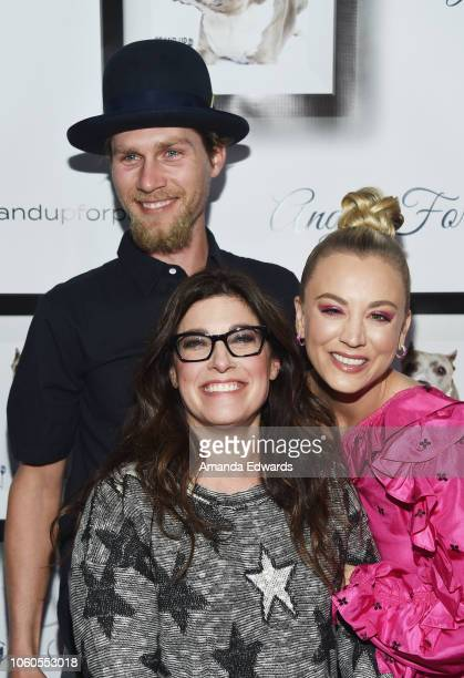 Karl Cook, Rebecca Corry and Kaley Cuoco arrive at the 8th Annual Stand Up For Pits at the Hollywood Improv Comedy Club on November 11, 2018 in Los...