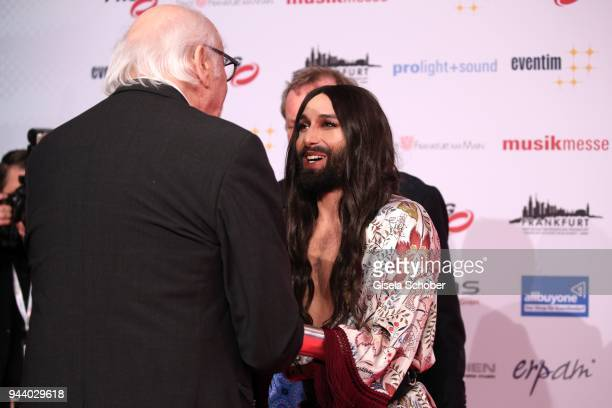 Karl Dall and Conchita Wurst during the 13th Live Entertainment Award 2018 at Festhalle Frankfurt on April 9 2018 in Frankfurt am Main Germany