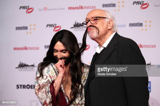 Karl Dall and Conchita Wurst during the 13th Live Entertainment Award 2018 at Festhalle Frankfurt on April 9, 2018 in Frankfurt am Main, Germany.
