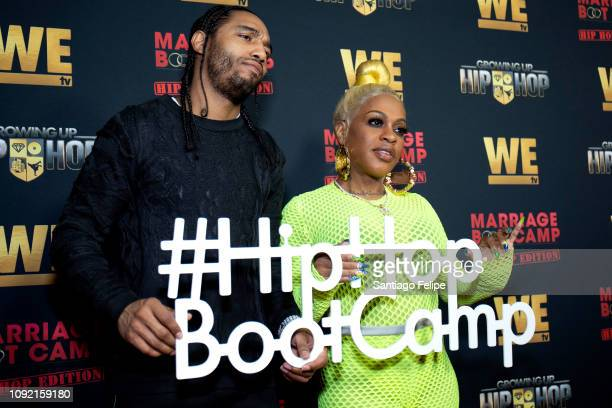 Karl Dargan and Lil Mo attend the exclusive premiere for 'WE TV hosts Hip Hop Thursday's at Nightingale on January 09 2019 in West Hollywood...