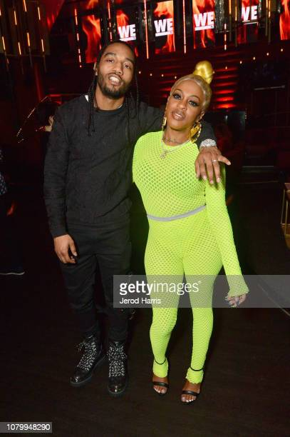 Karl Dargan and Lil' Mo attend WE tv Celebrates The Premiere Of Marriage Boot Camp Hip Hop Edition And Growing Up Hip Hop at Nightingale on January 9...