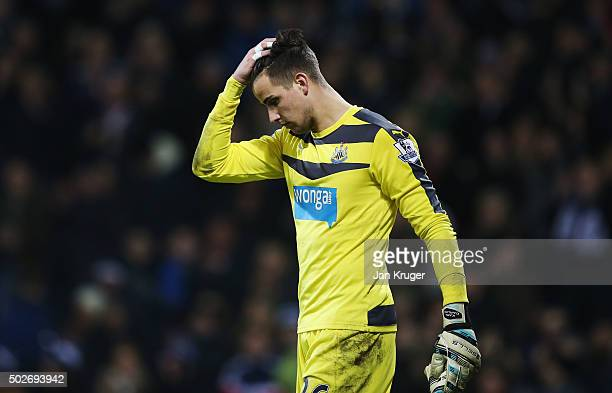 Karl Darlow of Newcastle United leaves the pitch after his team's 01 defeat in the Barclays Premier League match between West Bromwich Albion and...