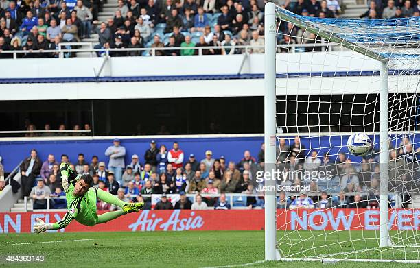 Karl Darlow of Nottingham Forest can't stop Nedum Onuoha of Queens Park Rangers scoring QPR's 3rd goal during the Sky Bet Championship match between...