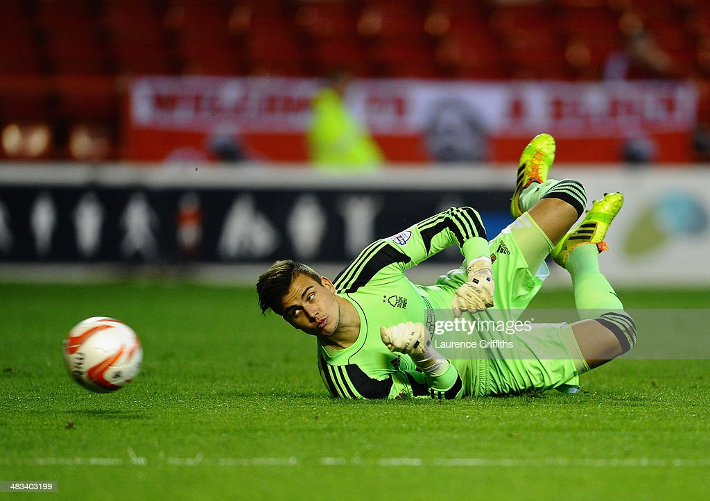 Karl Darlow of Nottingham Forest dives to make a save during the Sky Bet Championship match between Nottingham Forest and Sheffield Wednesday at City Ground on April 8, 2014 in Nottingham, England.