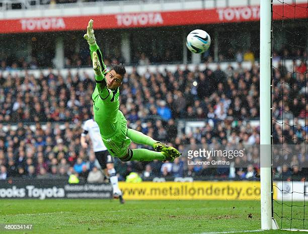 Karl Darlow of Nottingham Forest in action during the Sky Bet Championship match between Derby County and Nottingham Forest at iPro Stadium on March...