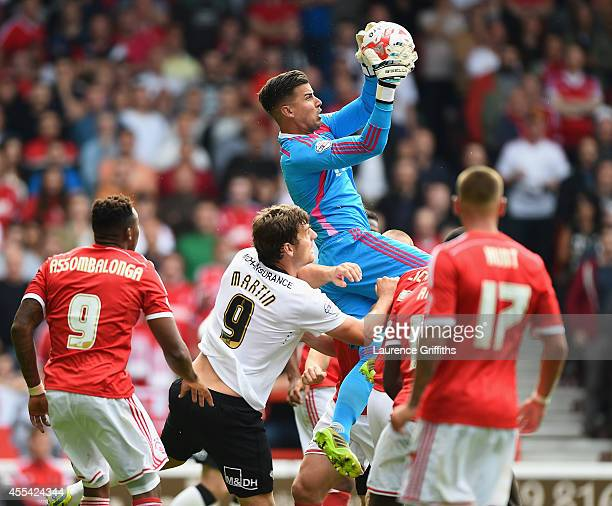 Karl Darlow of Nottingham Forest rises to claim the ball during the Sky Bet Championship match between Nottingham Forest and Derby County at City...