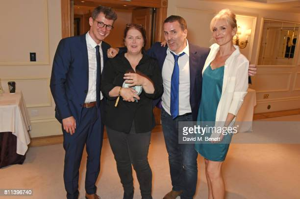 Karl Davies writer Sally Wainwright Con O'Neill and Amelia Bullmore winners of the TV Drama award for 'Happy Valley' pose in the winners room at The...
