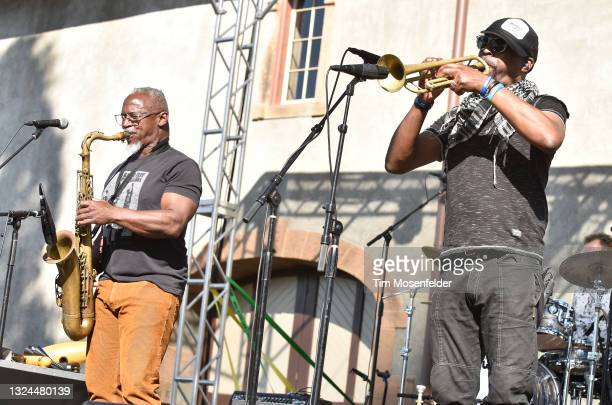 Karl Denson and Chris Littlefield of Karl Denson's Tiny Universe perform at Charles Krug Winery on June 19, 2021 in St Helena, California.