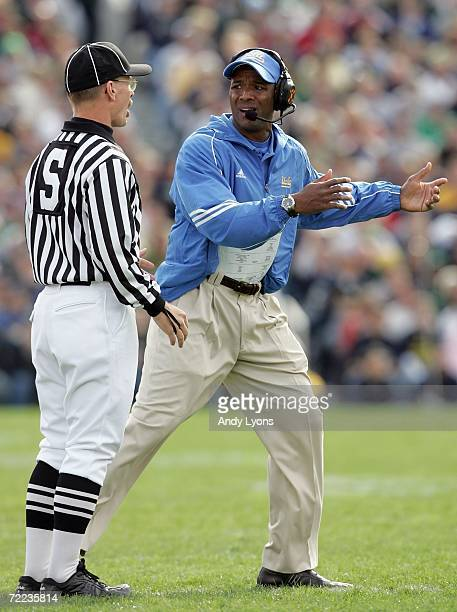 Karl Dorrell the Head Coach of UCLA Bruins argues his point with an offical during the game against Notre Dame Fighting Irish at Notre Dame Stadium...
