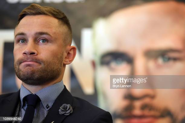 Karl Frampton attends a press conference during the Josh Warrington and Carl Frampton Media Tour on September 25 2018 in London England