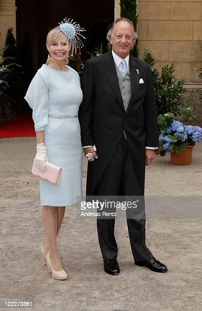Karl Friedrich Erbprinz von Hohenzollern and Princess Katharina Nina von Hohenzollern attend the religious wedding ceremony of Georg Friedrich...