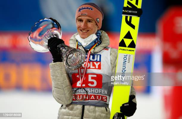Karl Geiger of Germany celebrates after winning second place at the Four Hills Tournament 2020 at Paul Ausserleitner Hill on January 06, 2021 in...