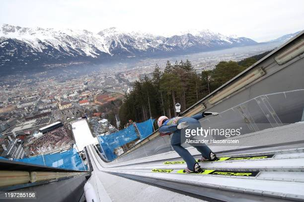 Karl Geiger of Germany competes during a training session for the 68th FIS Nordic World Cup Four Hills Tournament at BergiselStadion Olympiaschanze...