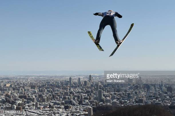 Karl Geiger of Germany competes during day two of the FIS Ski Jumping World Cup Sapporo at Okurayama Jump Stadium on January 27 2019 in Sapporo...