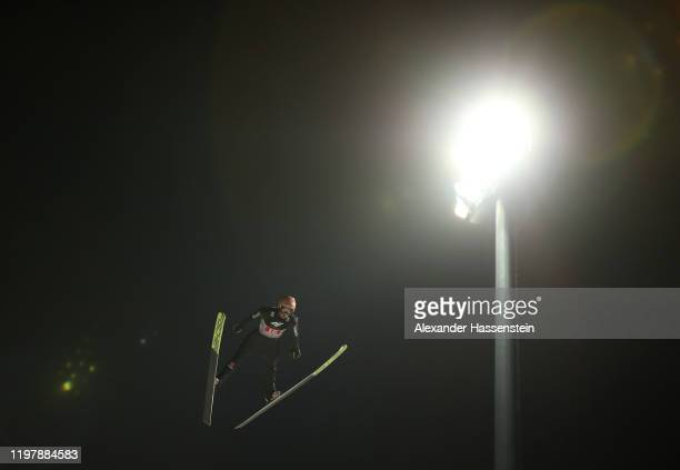 Karl Geiger of Germany competes during the first round during the 68th FIS Nordic World Cup Four Hills Tournament at PaulAusserleitnerSchanze on...