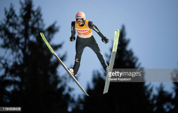 Karl Geiger of Germany competes during the first round of the FIS Ski Jumping World Cup TitiseeNeustadt at Hochfirstschanze on January 18 2020 in...