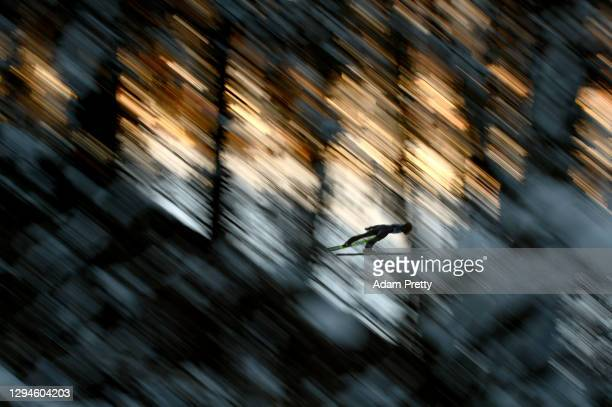Karl Geiger of Germany competes during the practice round prior to the Qualification at the Four Hills Tournament 2020 Bischofshofen at on January...
