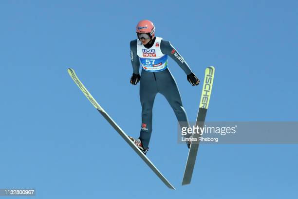 Karl Geiger of Germany competes in the Men's Nordic HS 109 Qualification Ski Jumping Competition at the 2019 FIS Nordic World Ski Championships at...