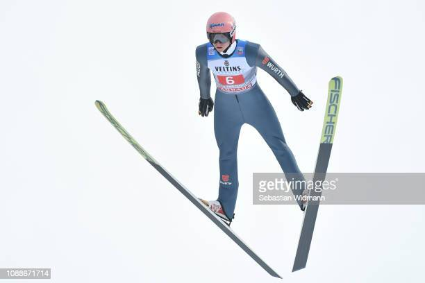 Karl Geiger of Germany competes on day 4 of the 67th FIS Nordic World Cup Four Hills Tournament ski jumping event on January 01 2019 in...