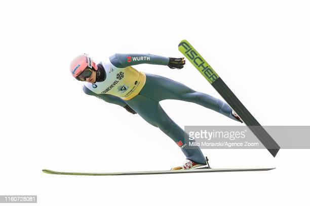 Karl Geiger of Germany in action during the FIS Grand Prix Ski Jumping Men's on August 910 2019 in Courchevel France