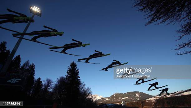 Karl Geiger of Germany jumps during practice prior to during the 68th FIS Nordic World Cup Four Hills Tournament at PaulAusserleitnerSchanze on...